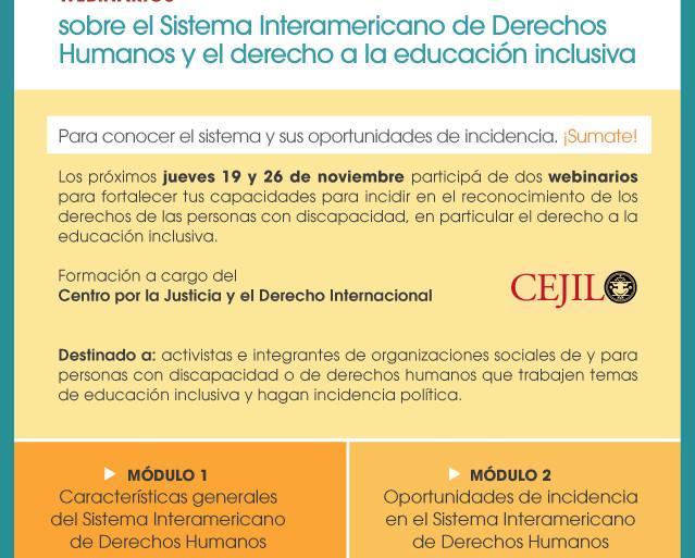 Flyer con información sobre los webinarios