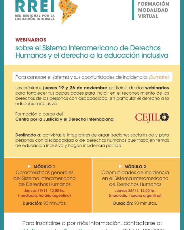 Webinarios sobre el Sistema Interamericano de Derechos Humanos y el derecho a la educación inclusiva