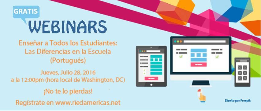 """Seminario en línea  """"Enseñar a Todos los Estudiantes: Las Diferencias en la Escuela"""" (Portugués)"""