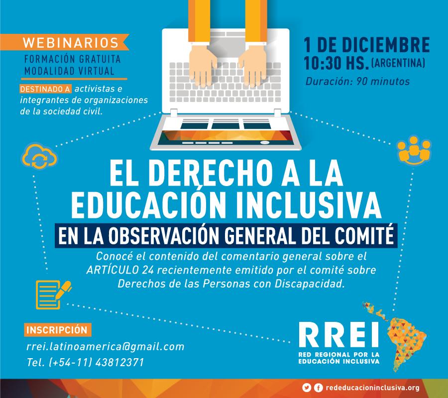 Seminario en línea – El derecho a la Educación Inclusiva en la Observación General del Comité