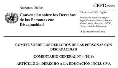 Comentario General N° 4 sobre el Derecho a la Educación Inclusiva